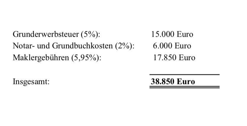 Berechnung Nebenkosten Baufinanzeirung