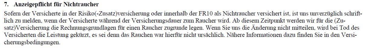 Risikolebensversicherung Anzeigepflicht Nichtraucher Alte Leipziger
