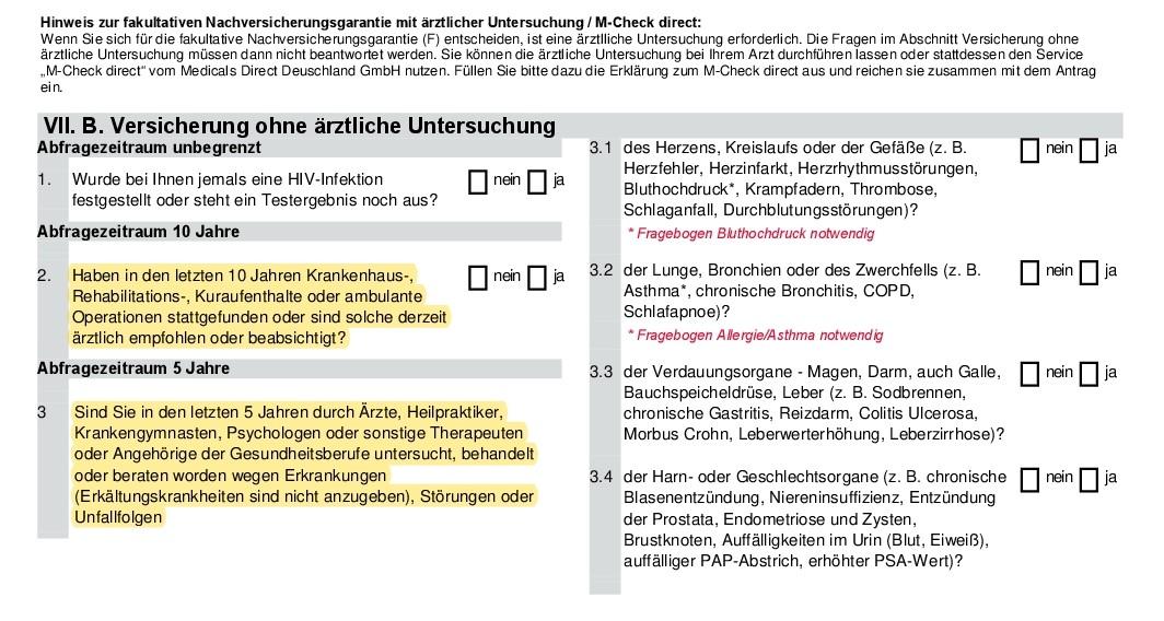 Gesundheitsfragen Swiss-Life Berufsunfähigkeitsversicherung