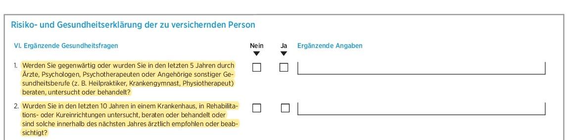 Gesundheitsfragen Die Bayerische Berufsunfähigkeitsversicherung