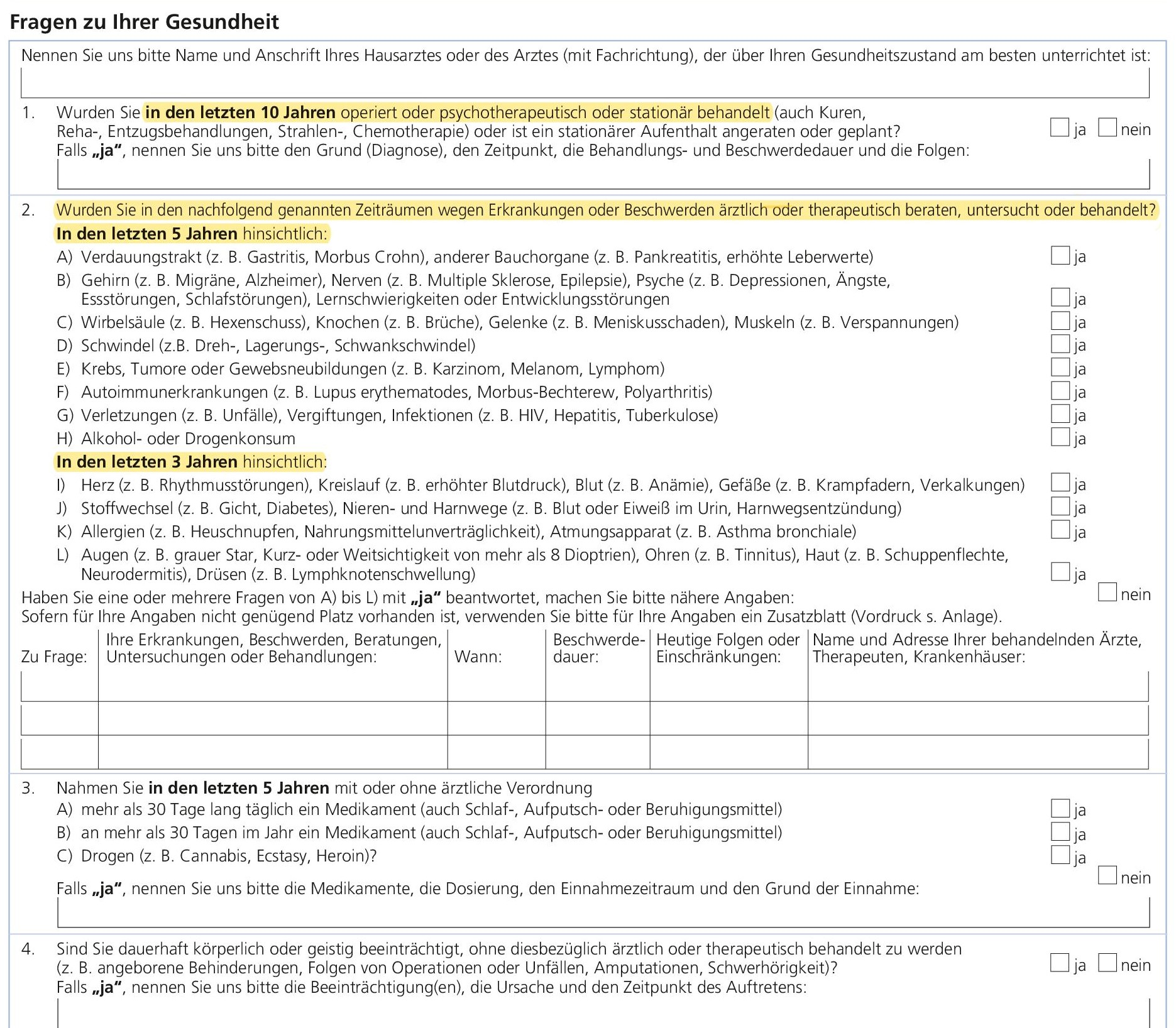 Gesundheitsfragen Volkswohl Bund Berufsunfähigkeitsversicherung (BU)