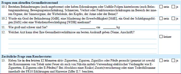 Berufsunfähigkeitsversicherung (BU-Aktion) vereinfachte Gesundheitsfragen Alte Leipziger 2