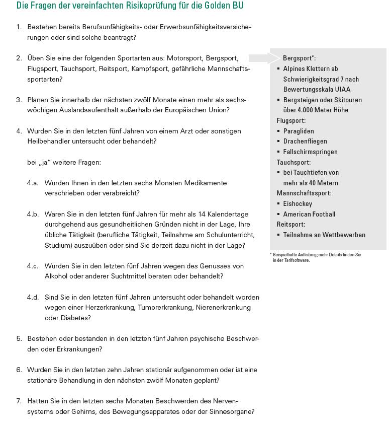 Berufsunfähigkeitsversicherung (BU-Aktion) vereinfachte Gesundheitsfragen LV 1871