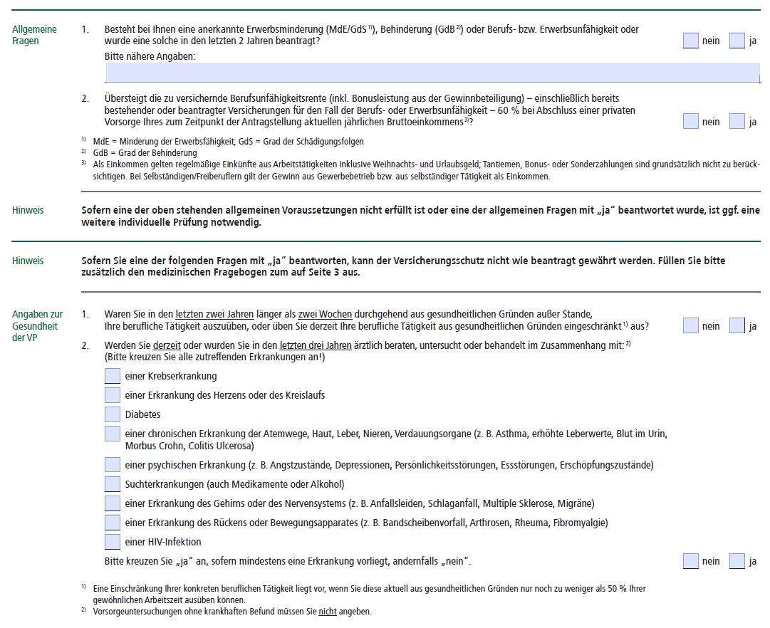 Berufsunfähigkeitsversicherung (BU-Aktion) vereinfachte Gesundheitsfragen HDI Versicherung