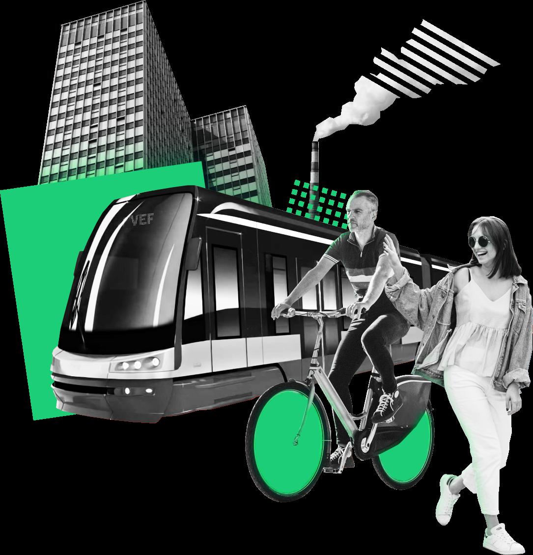 Ilustratīvs pilsētas attēls ar daudzstāvu ēku, tramvaju, velosipēdistu un smaidīgu gājēju.