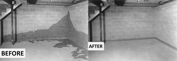 Baseboard Waterproofing Before & After