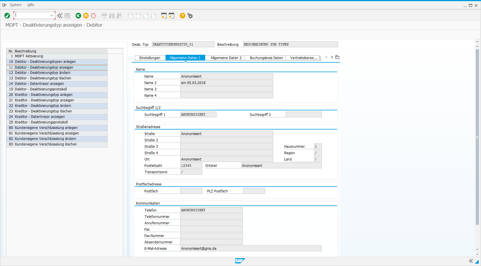 Frontend des Libelle Master Data Protection Tool