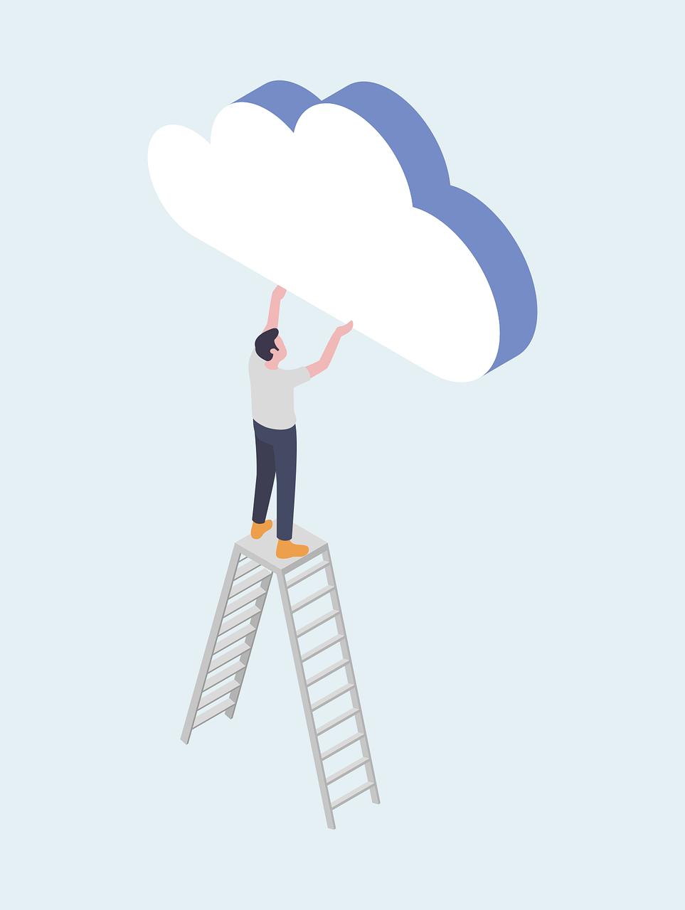 Man grabbing cloud