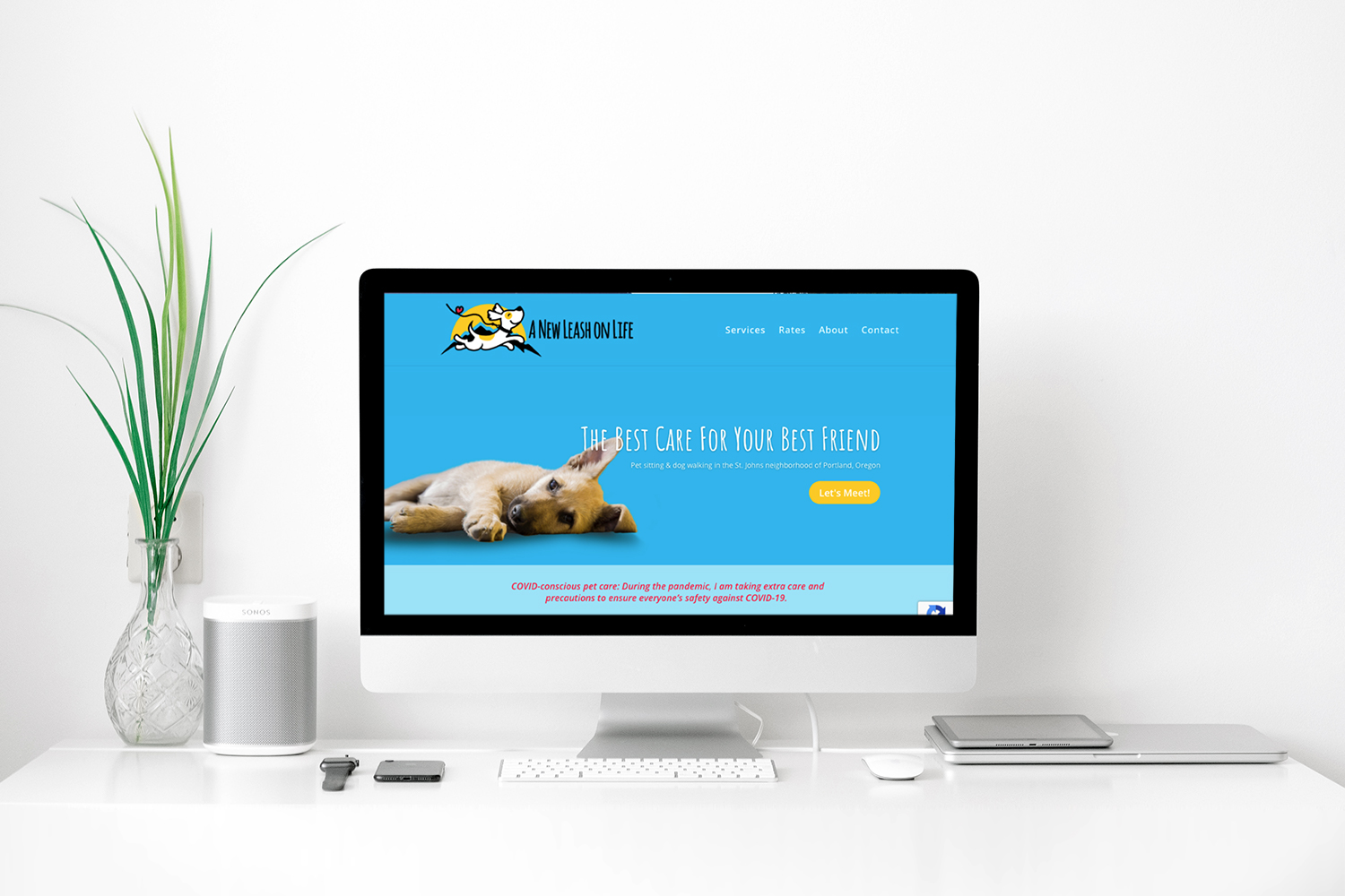 A New Leash On Life PDX website design on desktop