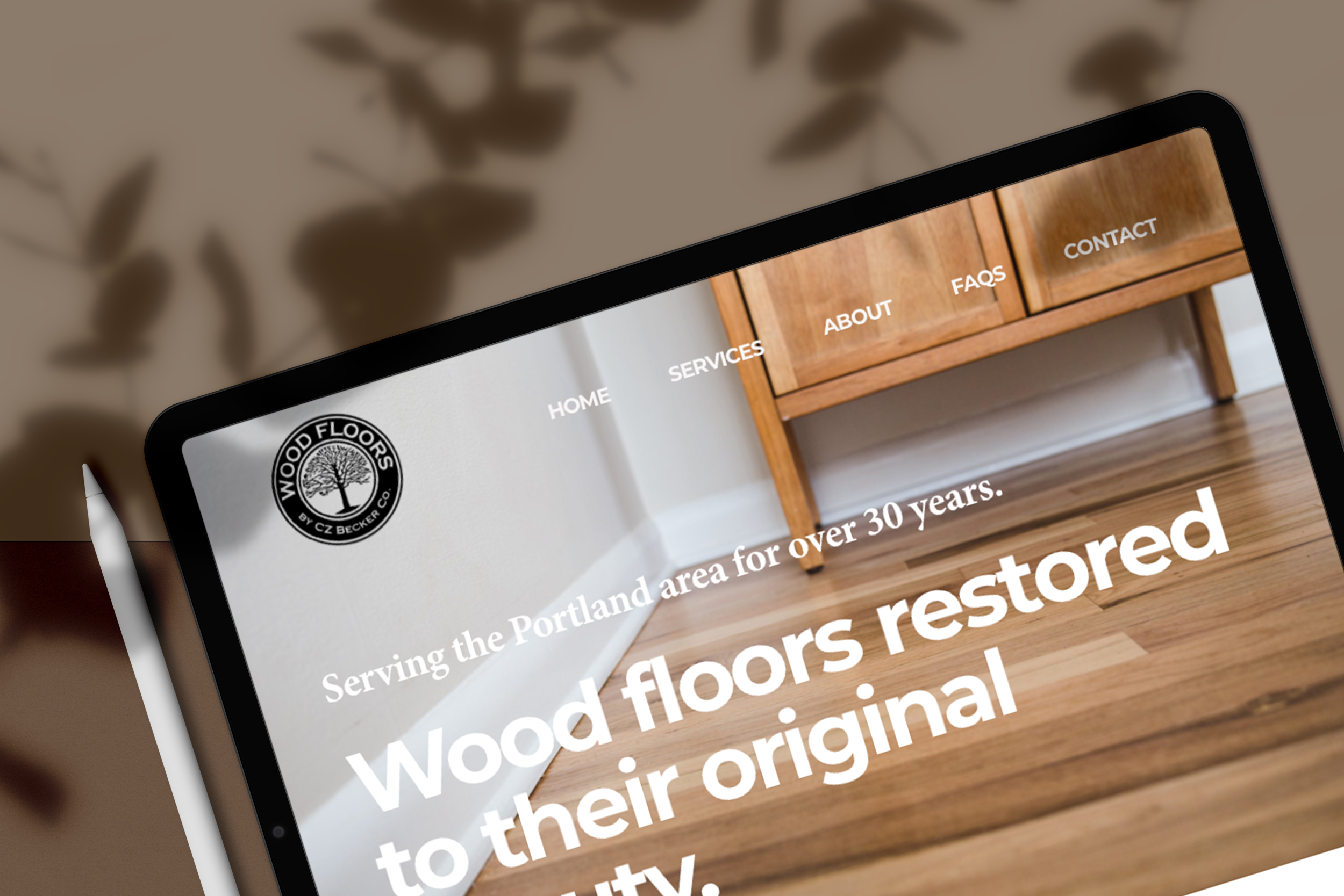 CZ Becker Wood Floors website design on tablet