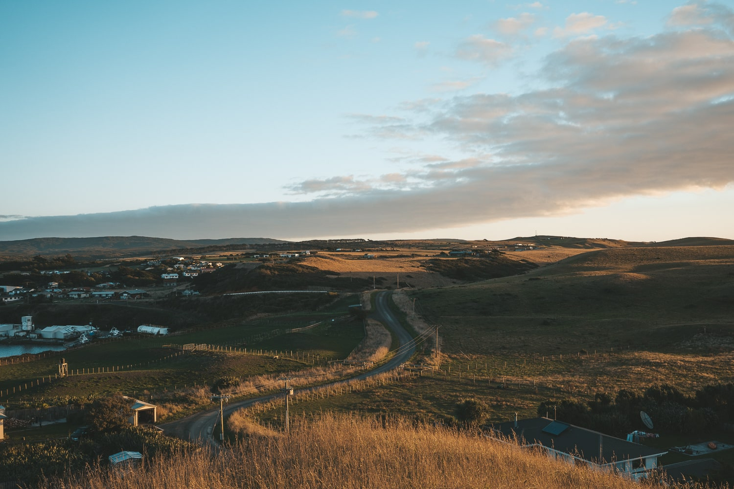 sunset view of television hill in chatham islands new zealand