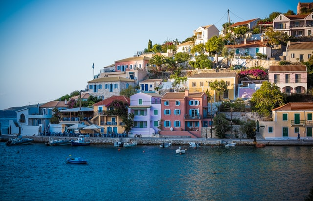 littel port of the island of Asos in Greece with colourful architecture
