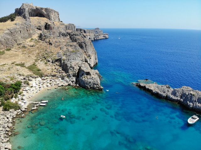 view from above of a little cove in Rhodes island in Greece