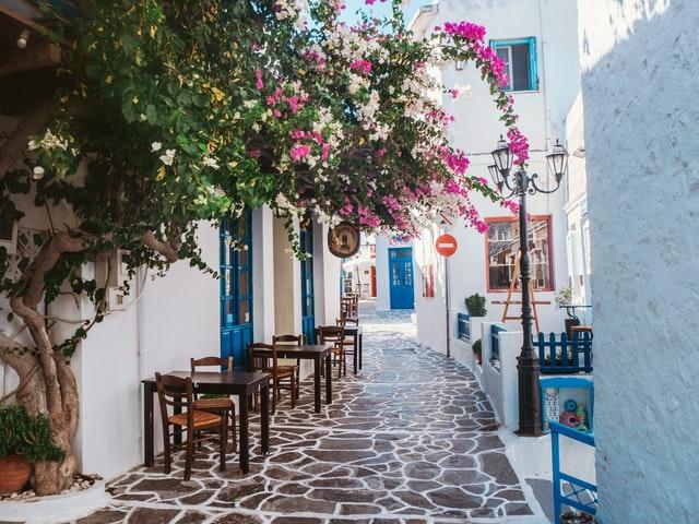 little alleyways of Milos island in Greece