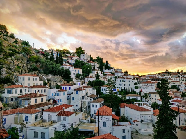 view of the main town of hydra in the saronic gulf of greece