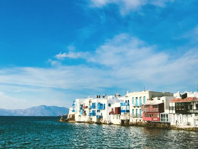 little venice in the main chora of mykonos island in greece