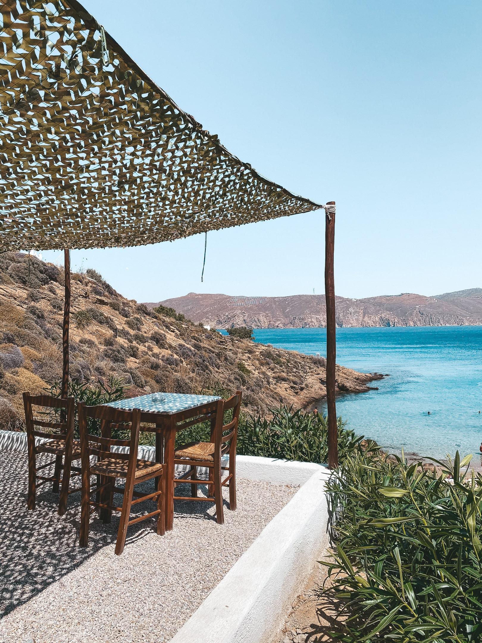 view from kiki's taverna one of the best restaurants in mykonos