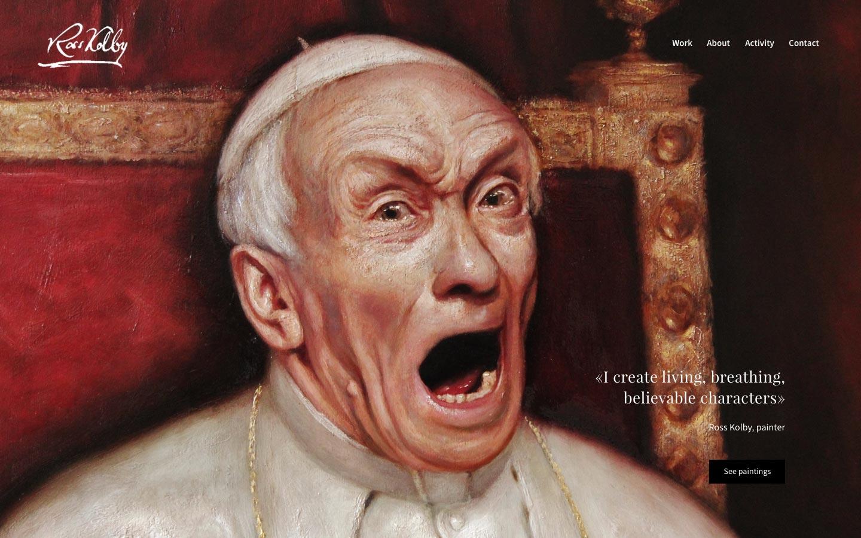 Forsiden på nettsiden til Ross Kolby viser et maleri av en pave som skriker, etter fryktelige avsløringer