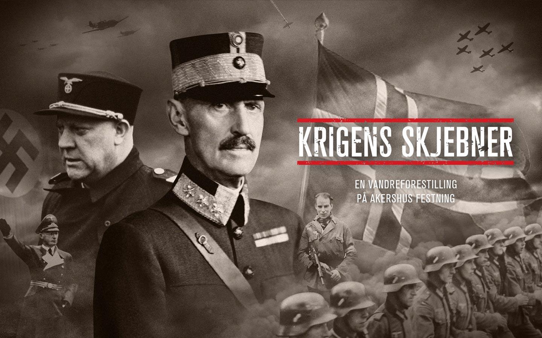 Forsiden på nettsiden til Krigens skjebner viser en kollasj av personer og elementer fra andre verdenskrig, blant annet Kong Haakon 7., Quisling, tyske soldater og jagerfly.