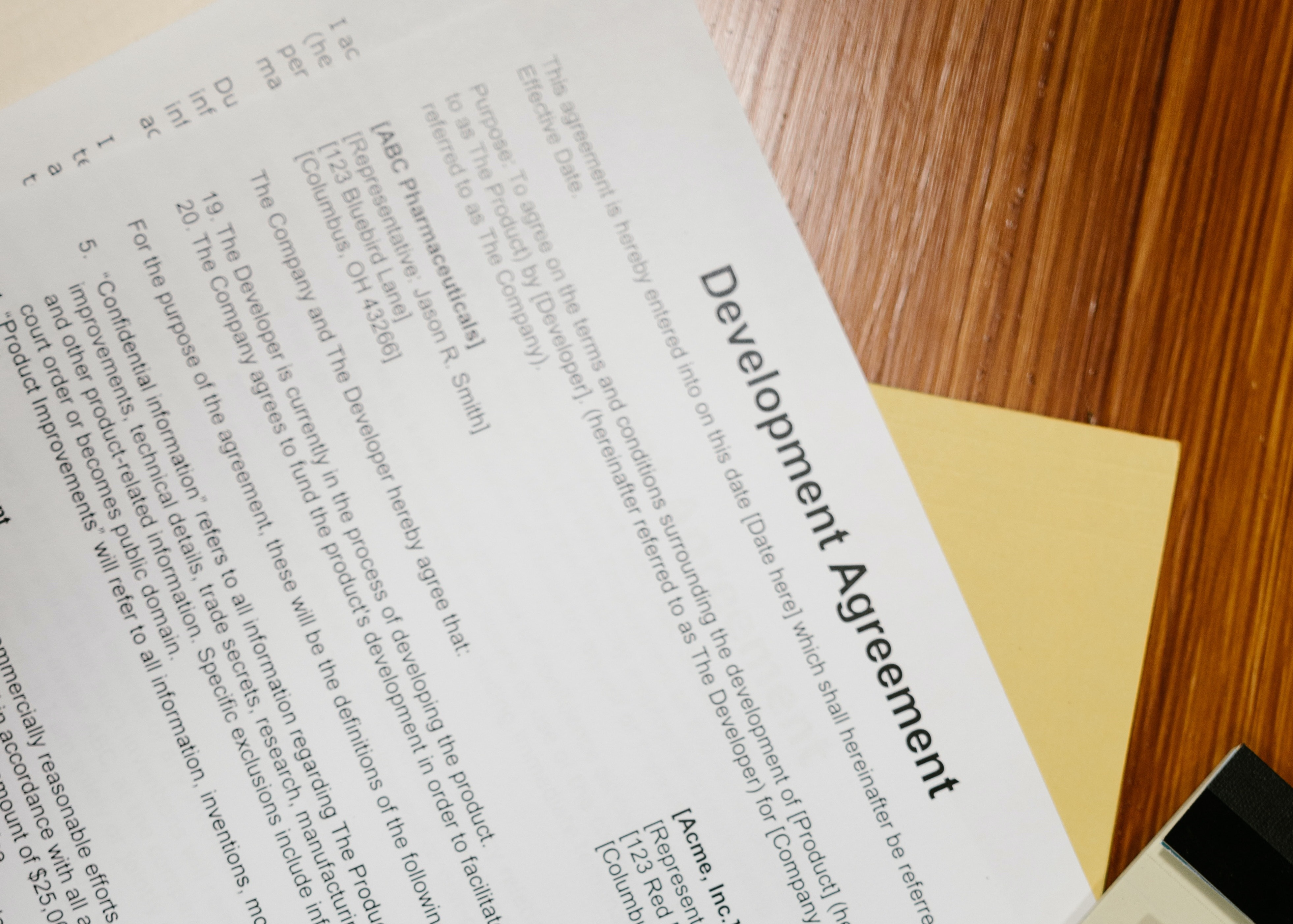 Image of a business document titled Development Agreement.