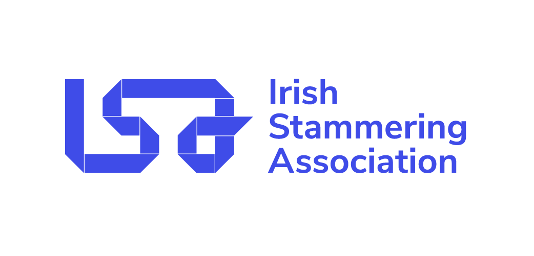 Irish Stammering Association logo. Blue letters on a white background.