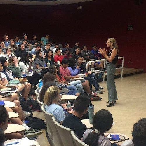 Filmmaker speaking at Screenagers School Screening Event