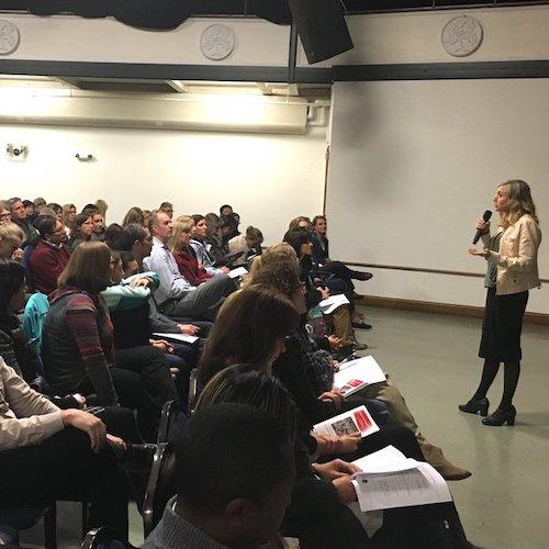 Delaney Ruston Screenagers Filmmaker speaking to a class