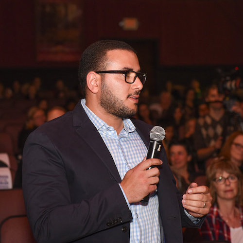 Man asking question at screenagers event
