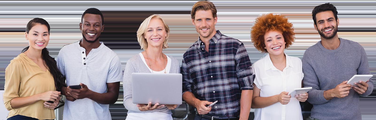 Employés d'entreprises qui sourient chez orthographiq