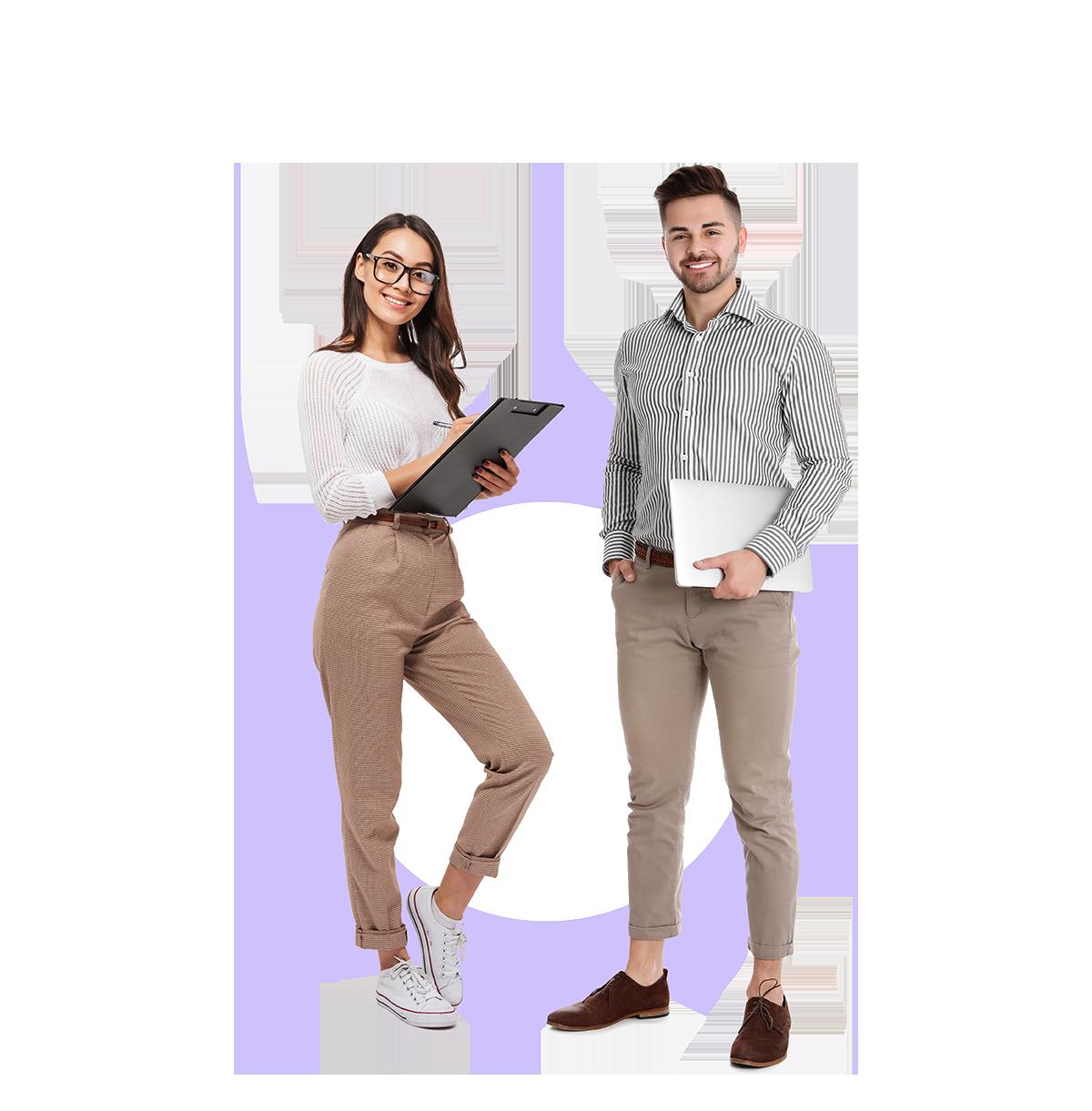 Un homme et une femme devant un cercle violet orthographiq