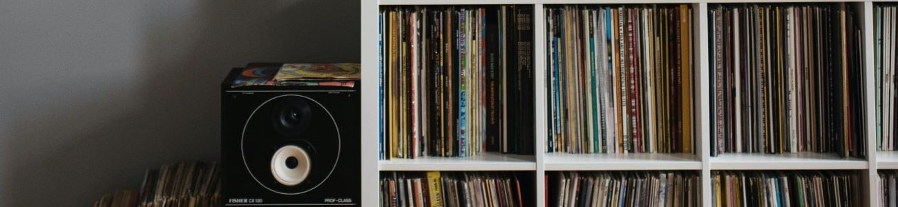 An image of a record shelf and speakers