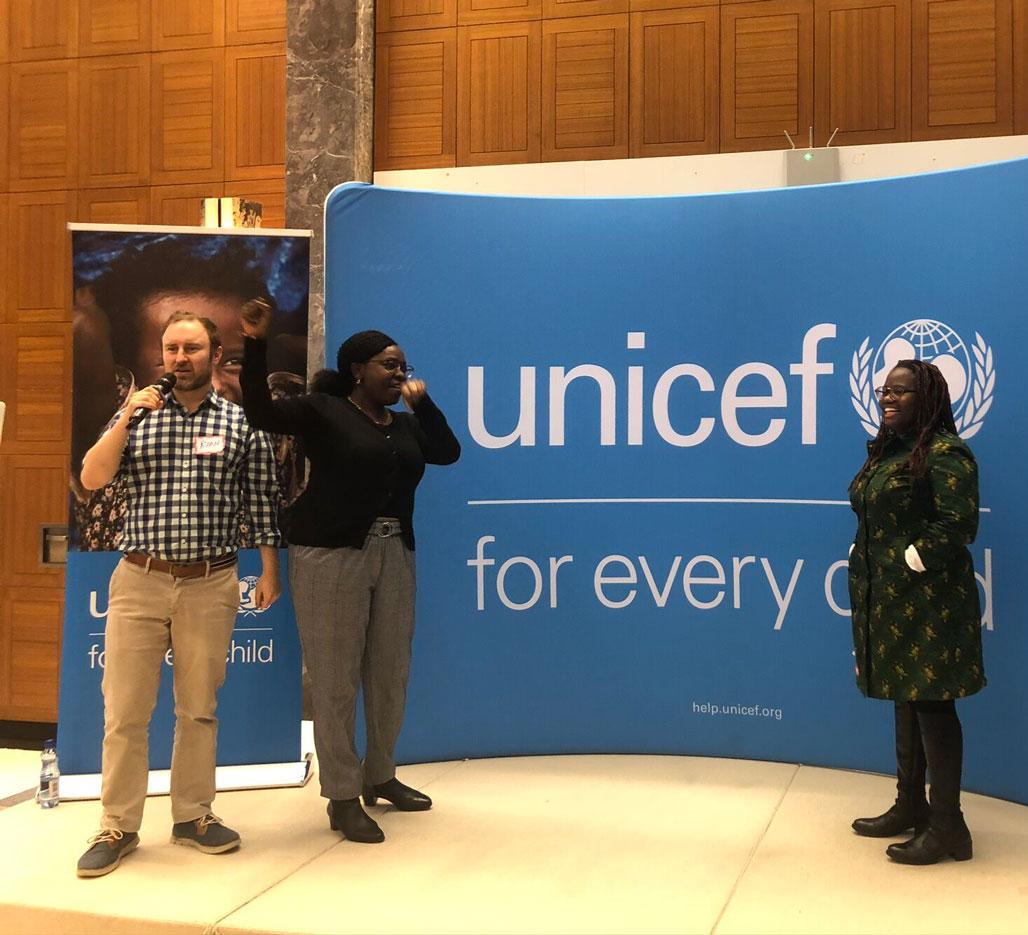 Ryan presenting at Unicef event