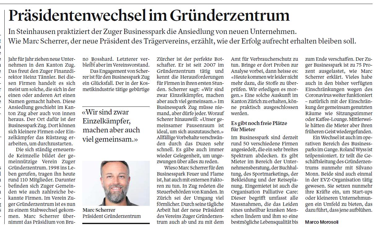 Beitrag in der Zuger Zeitung vom 13. September 2021