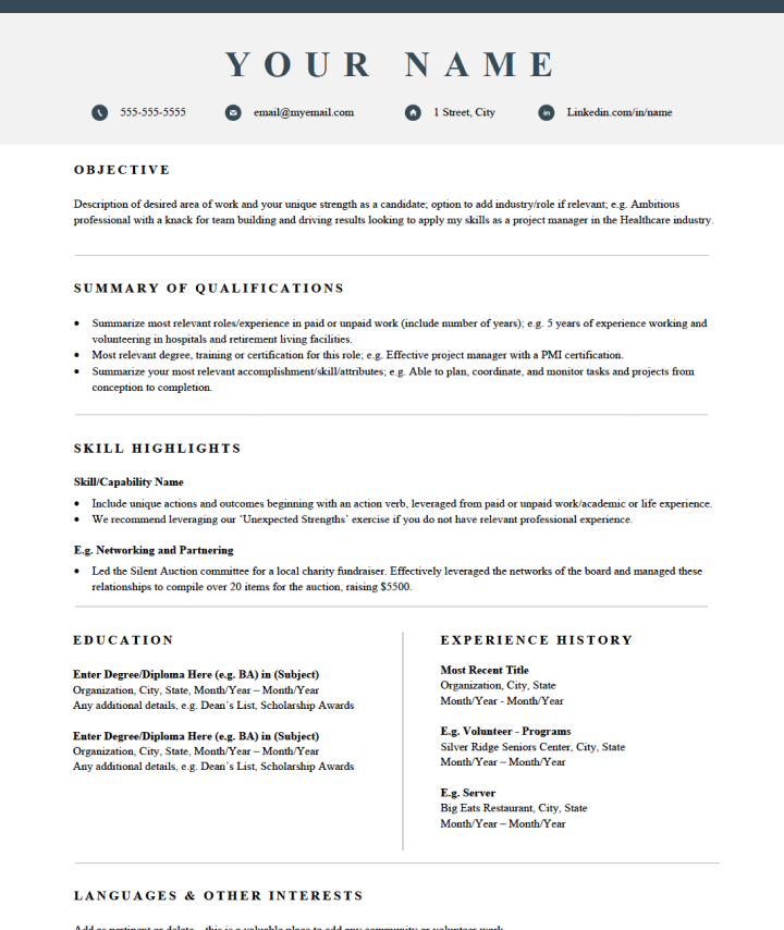 Skills-based Traditional Resume Template