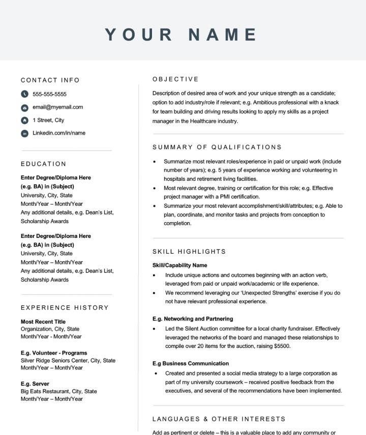Modern Skills-based Resume Template