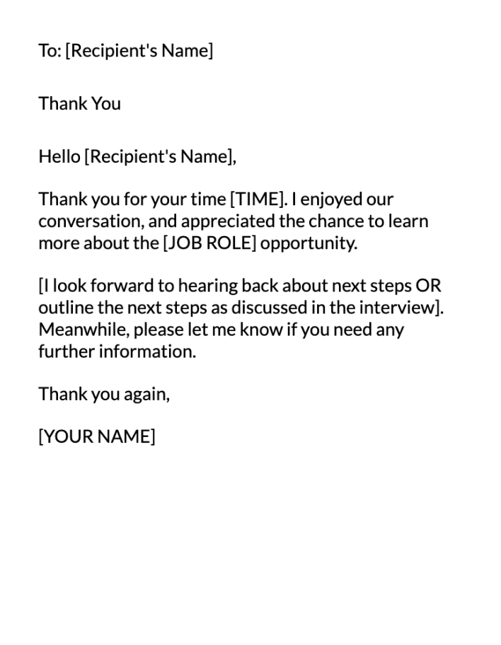 Post Interview Email Message Template