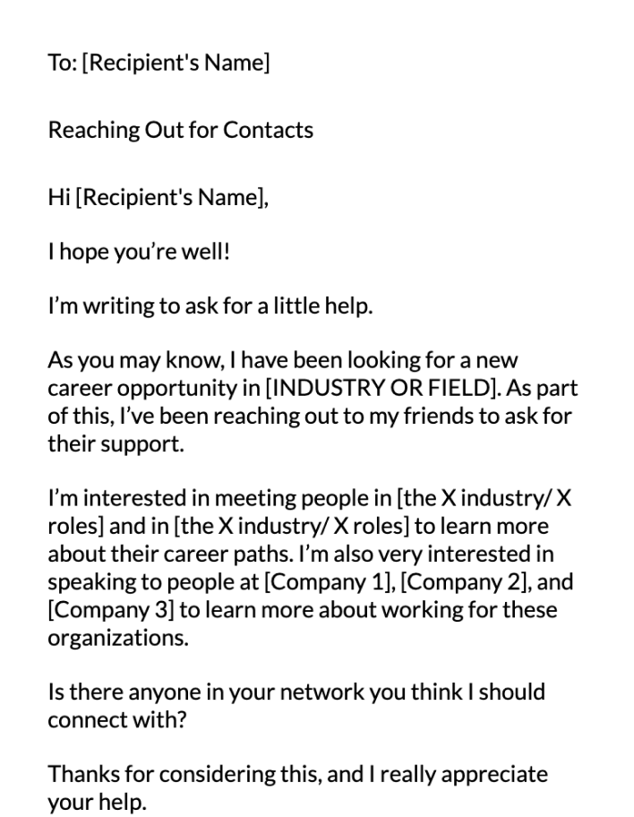 Connection Request Email Message Template