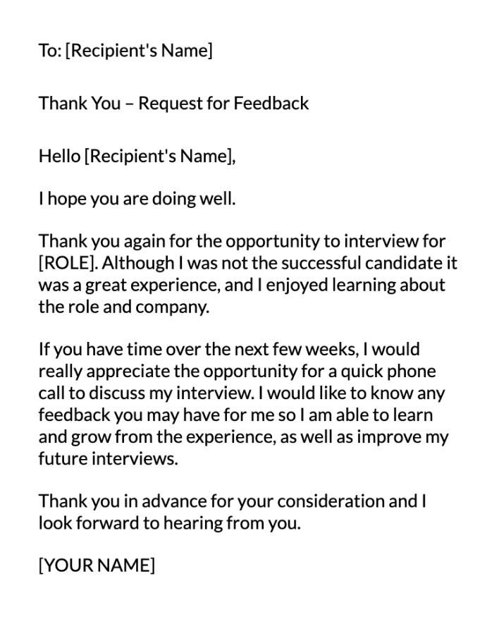 Post Interview Feedback Email Message Template