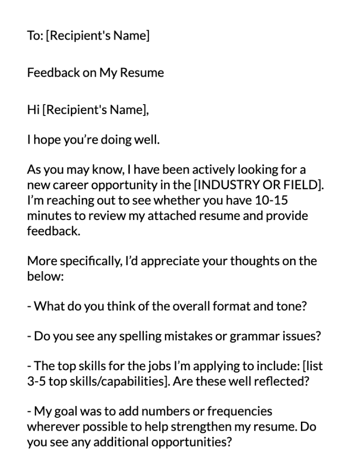 Resume Feedback Email Message Template