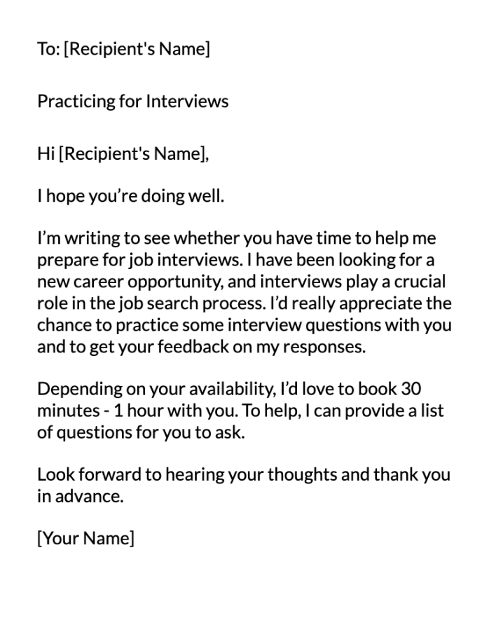 interview Practice Feedback Email Message Template