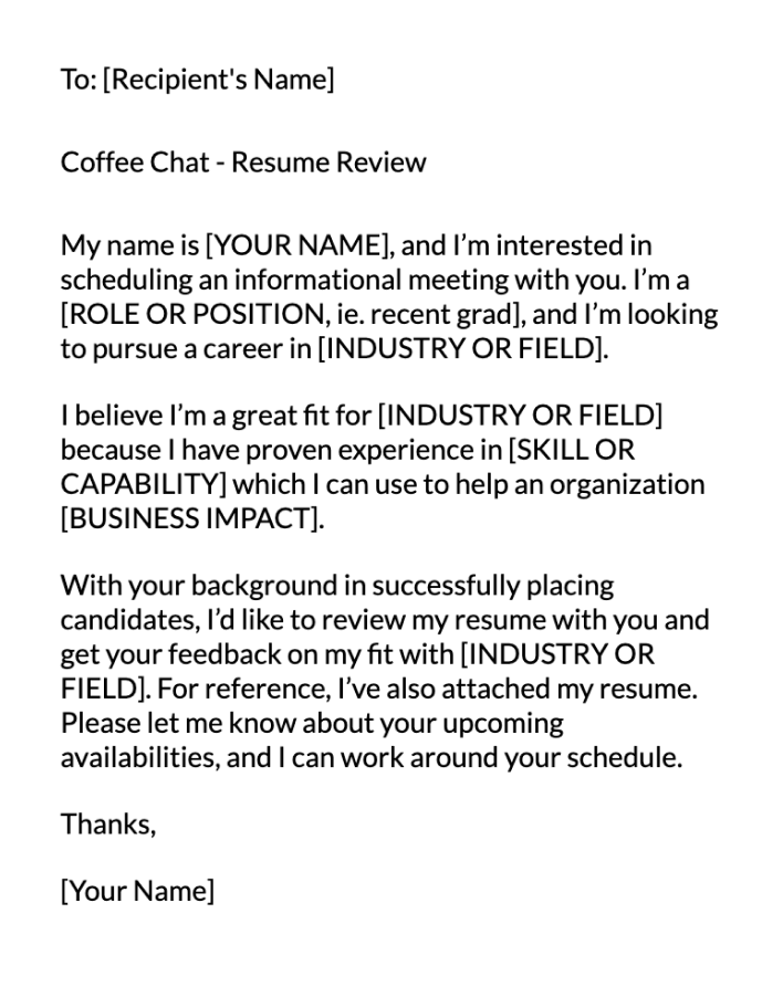 Resume Review Email Message Template