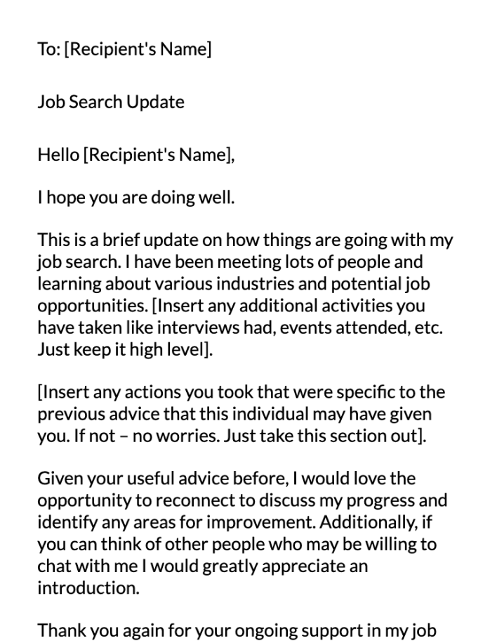 General Contact Email Message Template