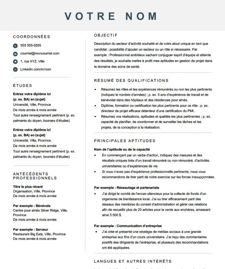 Modèle de CV basé sur les compétences modernes