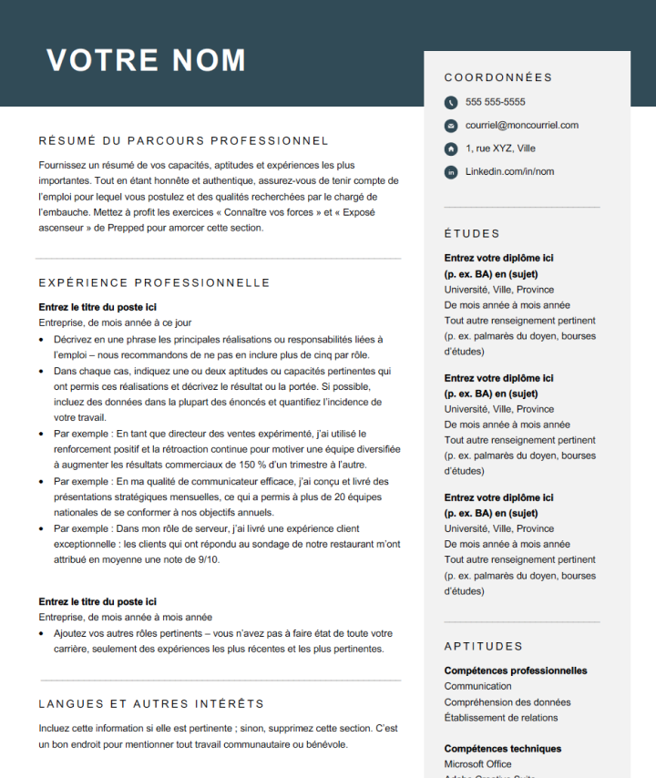 Skills-based Modern Resume Template