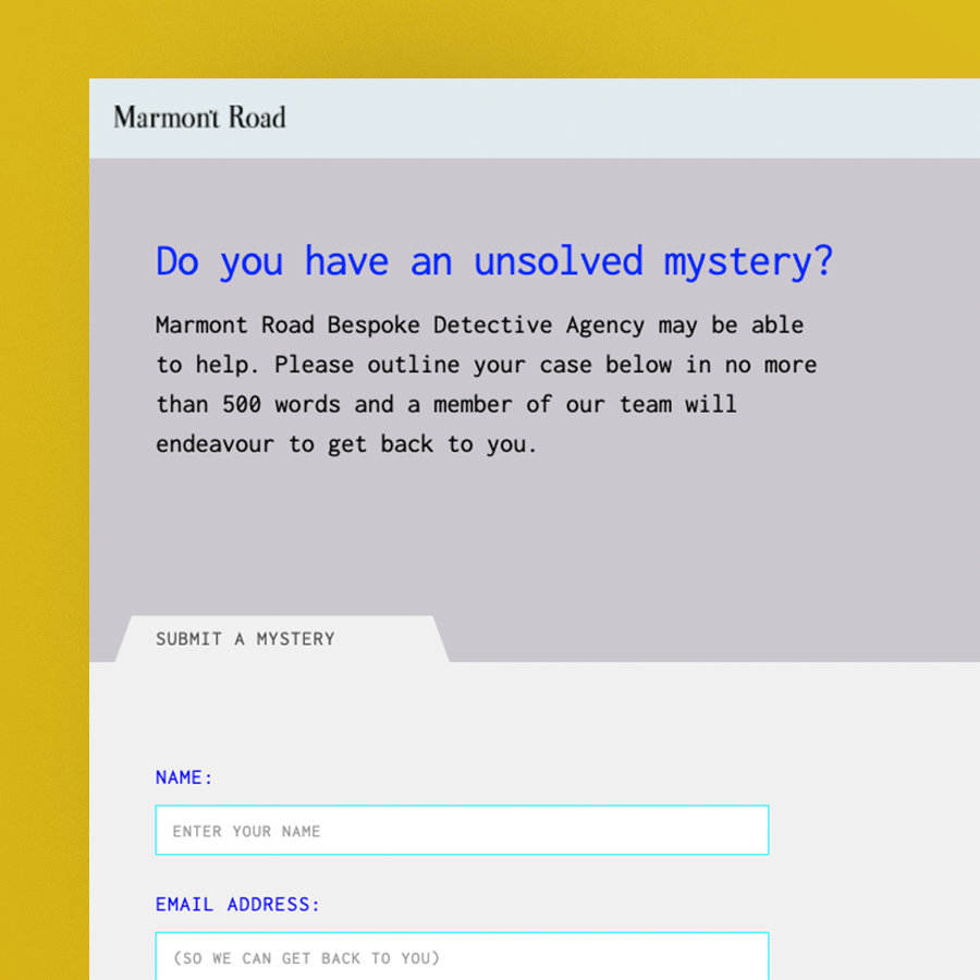 Marmont Road Bespoke Detective Agency, Submit at mystery