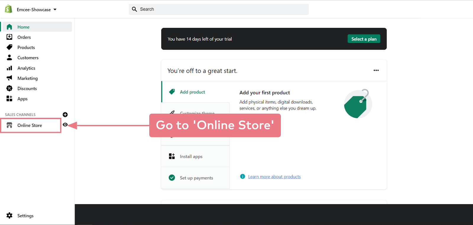 How to install Emcee on a Shopify website (step 2.1)