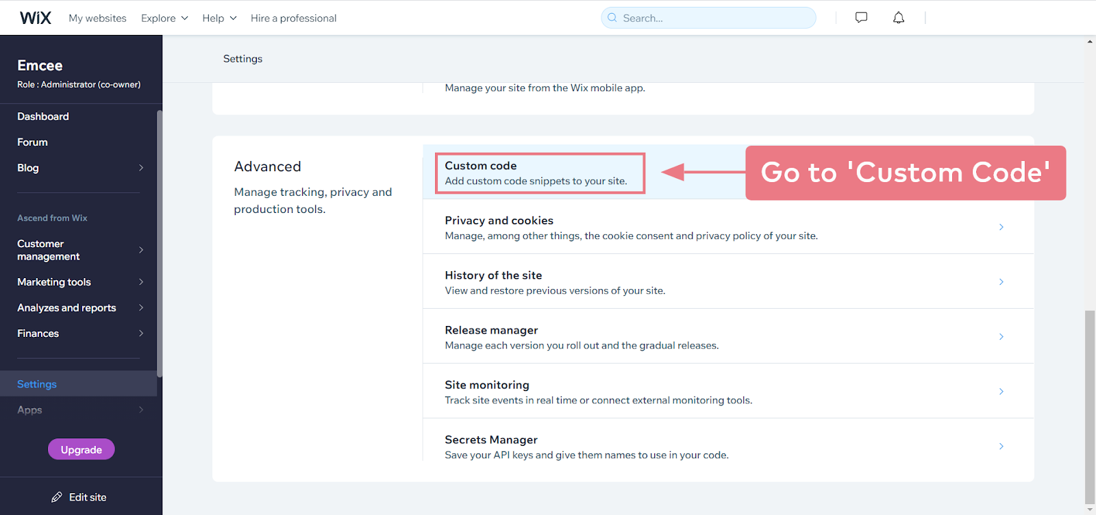 How to install Emcee on a Wix website (step 2.2)