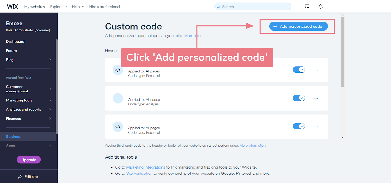 How to install Emcee on a Wix website (step 2.3)
