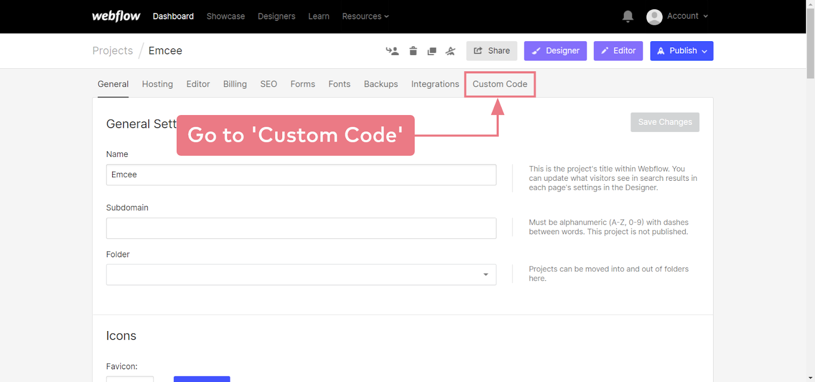 How to install Emcee on a Webflow website (step 2.2)