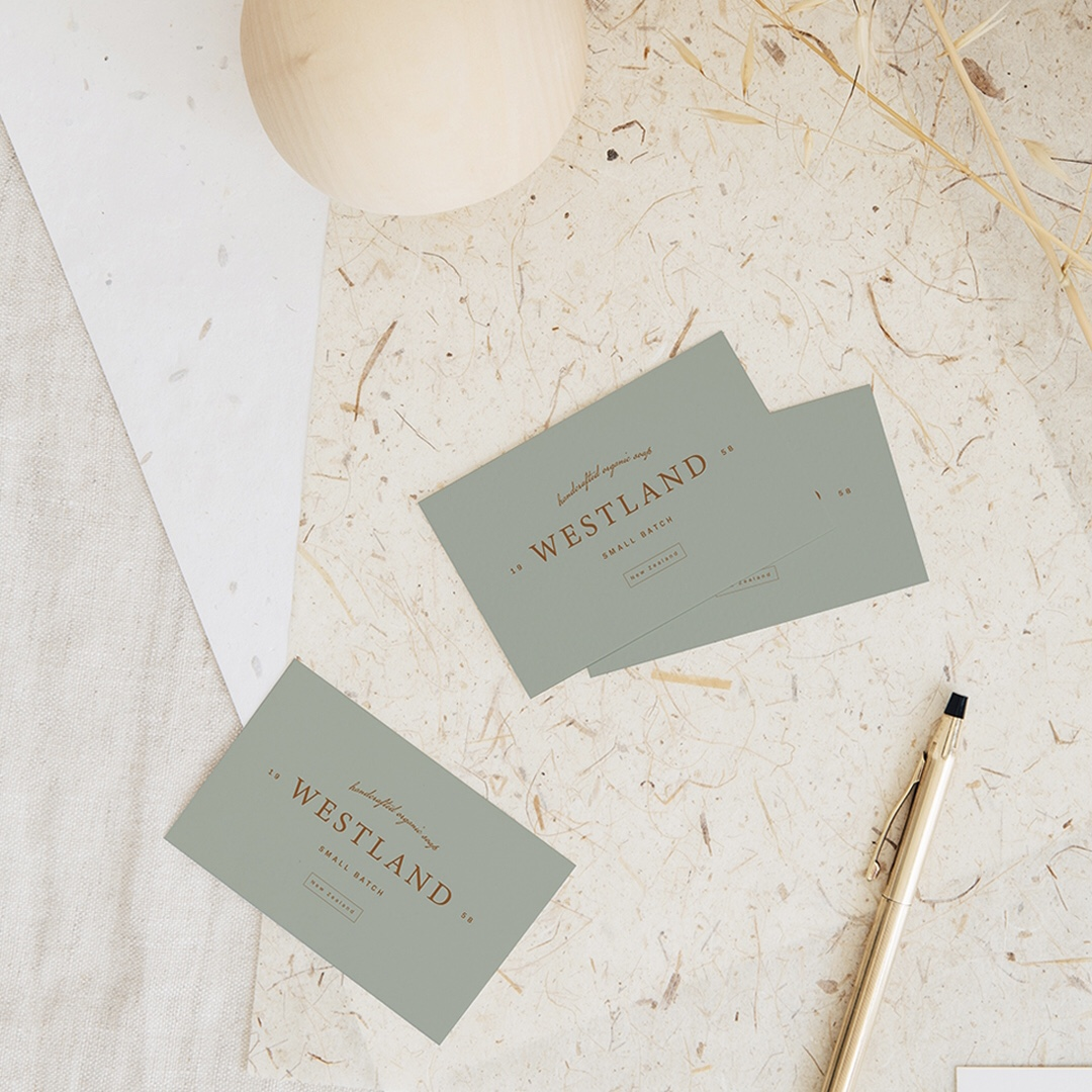 Flay lay of business cards designed for client